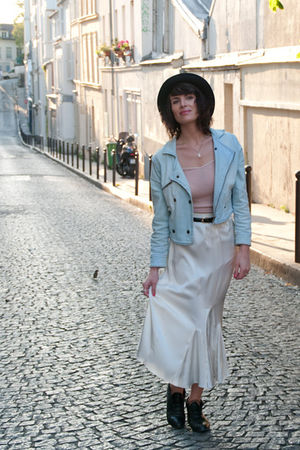 blue H&M jacket - beige Oysho top - beige vintage skirt - black asos hat - black