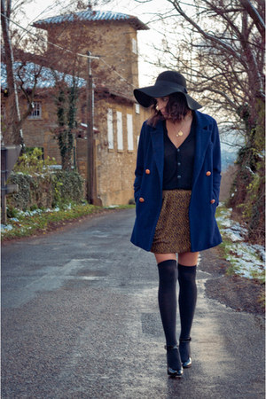 black asos hat - navy silence  the  noise coat - mustard Urban Outfitters skirt