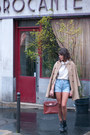 Tan-zara-coat-cream-american-apparel-top-blue-levis-shorts-brick-red-vinta