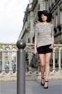 Black-asos-hat-heather-gray-zara-sweater-black-queens-wardrobe-shorts-blac
