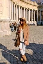 camel H&M coat - camel Ugg boots - camel vintage hat - cream H&M shirt