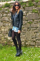 black Jeffrey Campbell shoes - black Massimo Dutti jacket - black Bimba&Lola bag