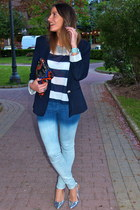 light blue Zara jeans - blue Zara blazer - orange Zara bag - white H&M t-shirt
