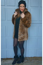 brown vintage coat - black Bershka boots - black Accessorize hat