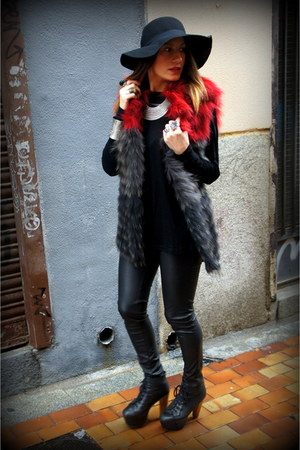 ruby red bdba vest - black Jeffrey Campbell shoes - black H&amp;M hat