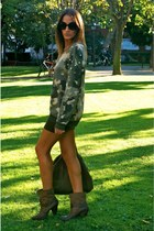 green Bershka skirt - dark green Zara boots