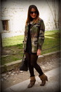 Brown-zara-boots-olive-green-vintage-jacket-black-parfois-bag