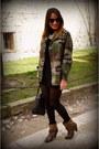 Brown-zara-boots-olive-green-vintage-jacket-black-parfois-bag