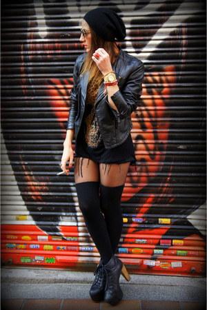black Jeffrey Campbell shoes - black Accessorize hat - black Zara jacket