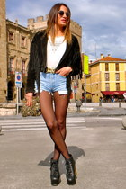 black vintage jacket - black Jeffrey Campbell shoes - eggshell Zara shirt