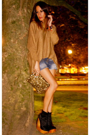 black Jeffrey Campbell shoes - gold Zara bag - blue Bershka shorts