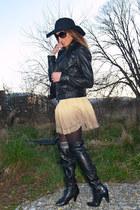 black Zara boots - black Primark hat - black leather Massimo Dutti jacket