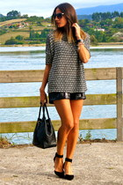 black Zara shoes - white Zara sweater - black StaffbyMaff shorts