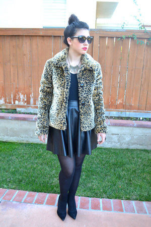 leopard Charlotte Russe jacket - leather Forever 21 skirt