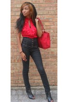 red shirt - navy jeans - black Bamboo shoes - red bag
