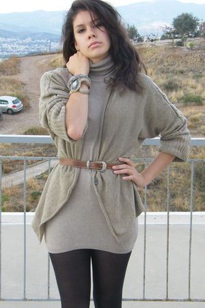 black stockings - beige Zara dress - beige Zara cardigan - brown vintage belt -