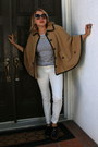 Camel-cape-forever-21-coat-white-skinny-h-m-jeans-white-striped-jcrew-top