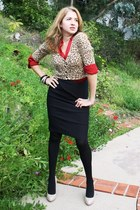 black Forever 21 tights - red silk ann taylor blouse