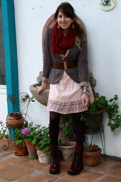 light brown tweed blazer H&M jacket - crimson Target boots - pink dress