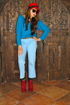 ruby red Shoedazzle boots - red cloche TJ Maxx hat - teal Forever 21 sweater