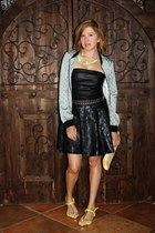 black Rock Republic skirt - aquamarine satin bomber Forever 21 jacket