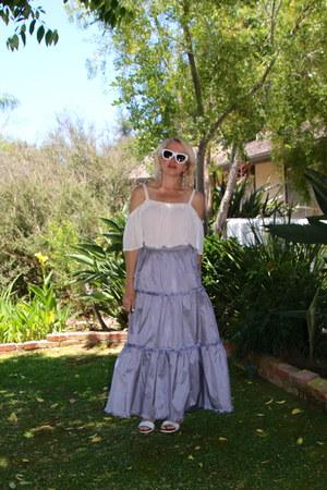 Alexander McQueen sunglasses - maxi Prada skirt - off shoulder Forever 21 blouse