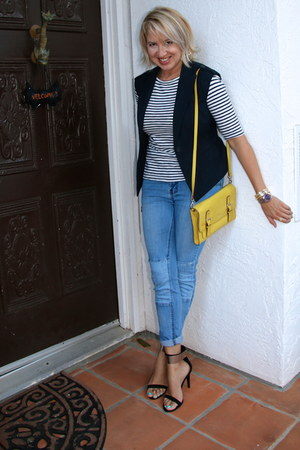 blue patchwork Forever 21 jeans - yellow kate spade purse - navy Forever 21 vest