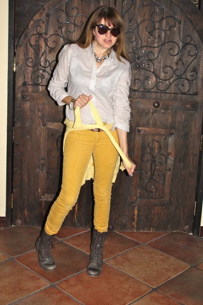 tan striped Forever 21 belt - dark brown Steve Madden boots