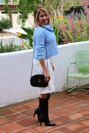 black tall JCrew boots - light blue Forever 21 sweater
