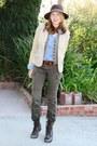 Brown-steve-madden-boots-dark-brown-felt-fedora-jessica-simpson-hat