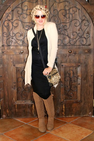 black Forever 21 dress - light brown otk boots Shoedazzle boots