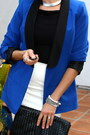 Black-booties-franco-sarto-boots-blue-satin-lapel-rock-republic-jacket