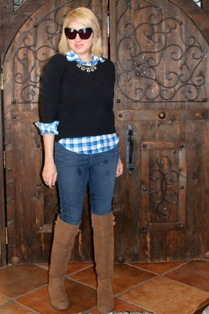 tan otk boots Shoedazzle boots - navy leggings Guess jeans