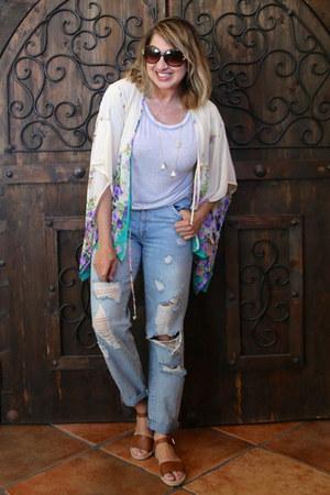 light blue distressed Forever 21 jeans - aquamarine kimono ShopRuche top