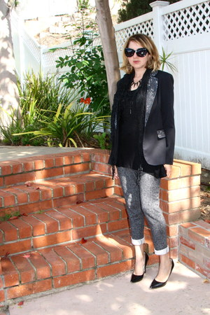 black Forever 21 jacket - gray sweat Forever 21 pants - black peplum TJ Maxx top