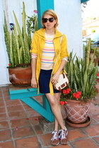 beige Forever 21 sweater - mustard jacket - off white H&M purse