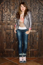 skinny cuffed H&M jeans - H&M jacket - bronze metallic H&M top - Etsy necklace