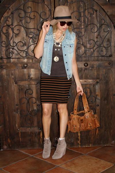 light blue denim Forever 21 vest - tan felt fedora asos hat - brown Chloe purse