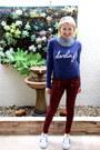 Blue-graphic-bloomingdales-sweatshirt-brick-red-coated-skinny-nordstrom-pants