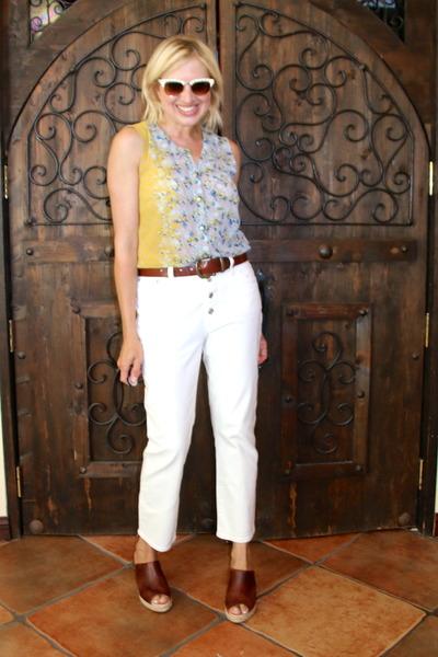 light blue cut out back Cabi cardigan - beige studded Valentino sunglasses