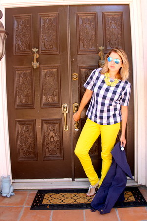 yellow Forever 21 jeans - navy trench Forever 21 jacket