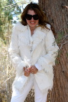 white Bebe coat - white Forever21 jeans - white Guess sweater