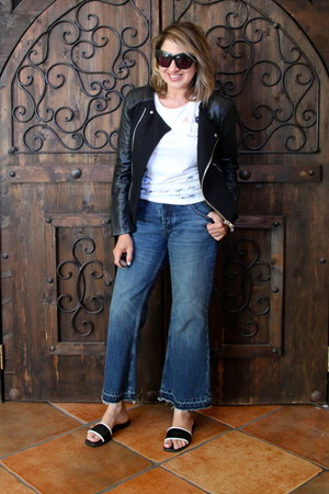 black moto Forever 21 jacket - navy kick flares Anthropologie jeans