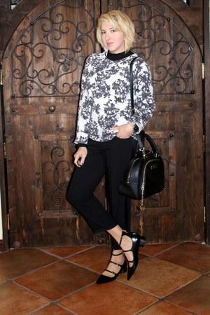 black Zara shoes - white JCrew sweater - black DKNY purse