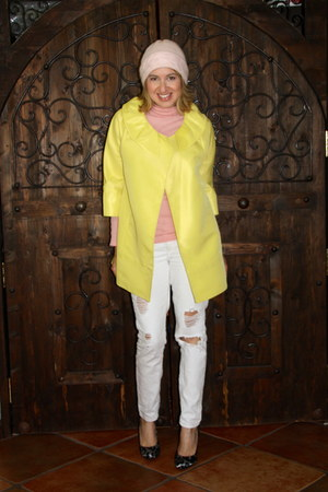 pink turtleneck Gap top - yellow Nine West coat - white Forever 21 jeans