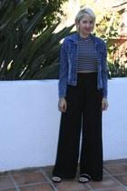 black asos pants - blue denim vintage jacket - black striped cropped Topshop top