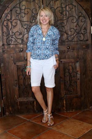 white bermuda Forever 21 shorts - light blue bohemian Forever 21 blouse