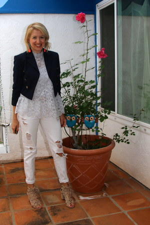 white Forever 21 jeans - navy Forever 21 jacket
