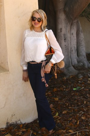 off white lace H&M blouse - light brown booties Betsey Johnson boots
