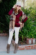 white skinny Forever 21 jeans - camel fringed Mia boots - tan Forever 21 hat